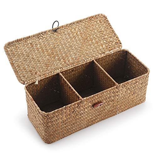 DECRAFTS Cestos Almacenaje Seagrass con Tapa Caja Mimbre Rectangular con Compartimentos Decorativas para Organizar Juguetes de Papel Higiénico
