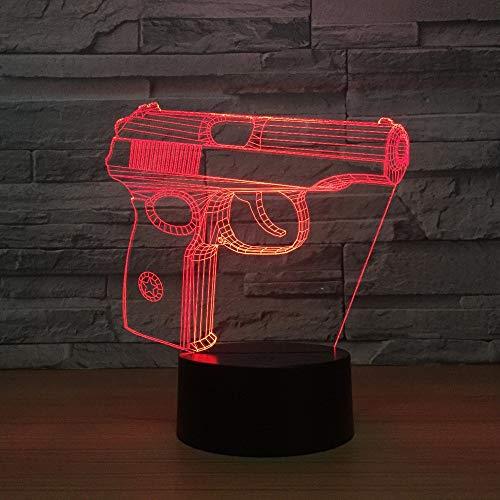 jiushixw 3D acryl nachtlampje met afstandsbediening van kleur veranderende tafellamp pistool kledingkast nachtkastje geschenken kinderthema lampen roze plissé