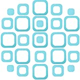 20 Pieces Adhesive Square Bath Treads Non-Slip Bathtub Stickers Non Slip Traction to Tubs Bathtub Stickers Adhesive Decals Appliques for Bath Tub Showers, Pools, Boats, Stairs (Blue)
