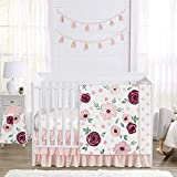 Sweet Jojo Designs Burgundy Watercolor Floral Baby Girl Nursery Crib Bedding Set - 4 Pieces - Blush Pink, Maroon, Wine, Rose, Green and White Shabby Chic Flower Farmhouse