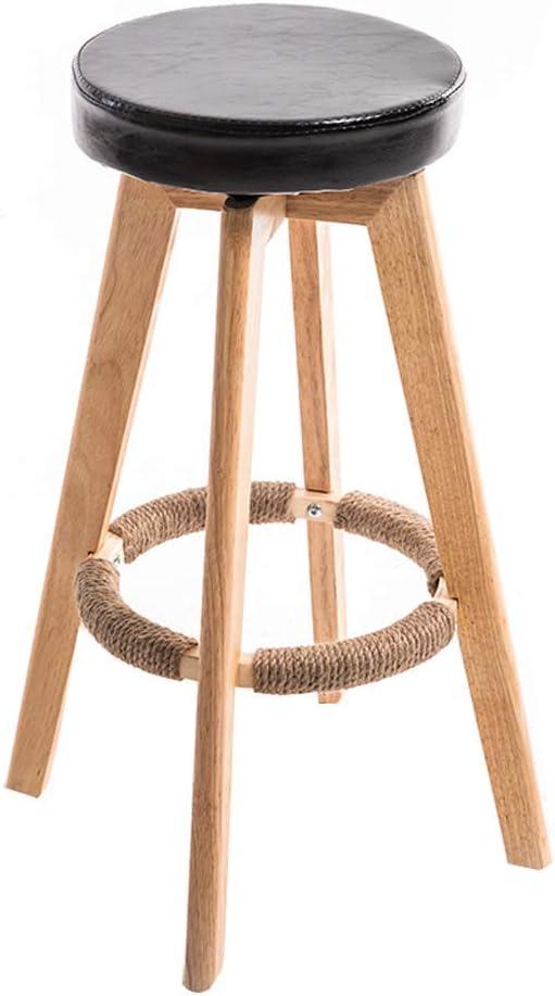 LUO Tabouret de bar Tabourets hauts Maison Tabouret de bar en bois massif Rotation minimaliste moderne Chaise de réception européenne créative (73 cm),blanc Noir