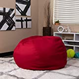 EMMA + OLIVER Oversized Solid Red Bean Bag Chair for Kids and Adults