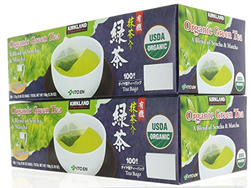 Pack 2, Organic Japanese Green Tea, A Blend of Sencha & Matcha 200 bags 0.05 Oz/1.5g per bag by Kirkland Signature