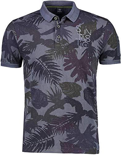 LERROS Poloshirt mit Tropen-Print dunkelblau,XL
