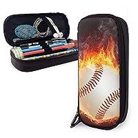 火の野球 ペンケース 鉛筆バッグ 筆箱 多機能 大容量 シンプル 革レザー 耐久性 筆入れ、化粧ポ ーチ文房具収納袋手提げハンドバッグ高校生中学生小学生 贈り物 ギフト男女兼用