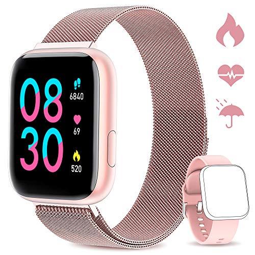 WWDOLL Smartwatch, Reloj Inteligente IP67 con Monitor Rítmo Cardíaco Sueño Podómetro Notificaciones, Reloj Deportivo 1.4 Inch Pantalla Táctil Completa Hombre Mujer para iOS y Android (Rosa)