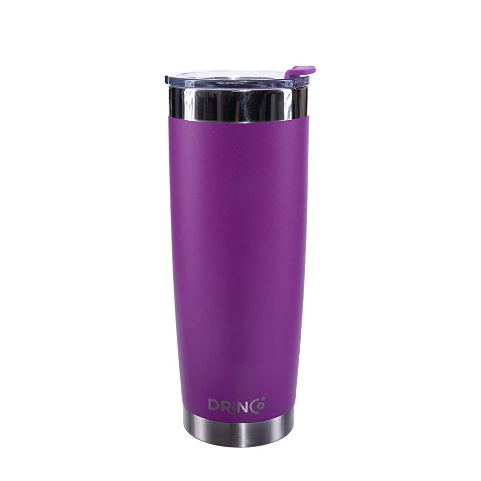 Drinco - Stainless Steel Tumbler | Double Walled Vacuum Insulated Coffee Mug With Spill Proof Lid For Hot & Cold Drinks | Purple |Hiking, Camping & Traveling | BPA Free | 20oz