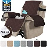 H.VERSAILTEX 100% Waterproof Recliner Covers Large Recliner Chair Cover Protector for Dogs/Cats/Pets with Elastic Strap, Soft Quilted with Non Slip Puppy Paw Rubber Patch (Seat Width: 30', Brown)