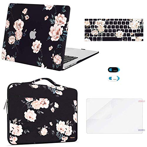 MOSISO Compatible with MacBook Air 13 inch Case (A1369 A1466, Older Version 2010-2017 Release), Plastic Camellia Hard Shell Case&Carrying Sleeve Bag&Keyboard Cover&Webcam Cover&Screen Protector, Black