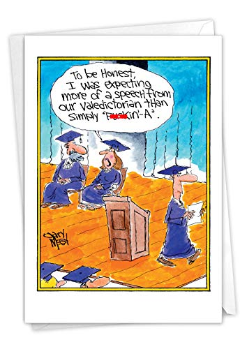 NobleWorks - 1 Funny Graduation Notecard with Envelope - College School Humor, Cartoon Card for Graduates - F-Kin A 3892