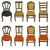 Banzaii Funda Elastica para Asiento de Silla sin Respaldo - Cubierta para Sillas de Oficina, Cocina, Comedor, Dormitorio, Hotel o Restaurante - 2 Piezas Made in Italy Ladrillo