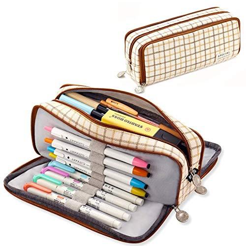 Trousse à Crayons Grande Capacité, Étui à Crayons en Toile, Pencil Case con 3 Compartiments, pour École, le Bureau, Stylo, Papeterie, Cosmétique,21 * 8.5 * 5 cm, Marron