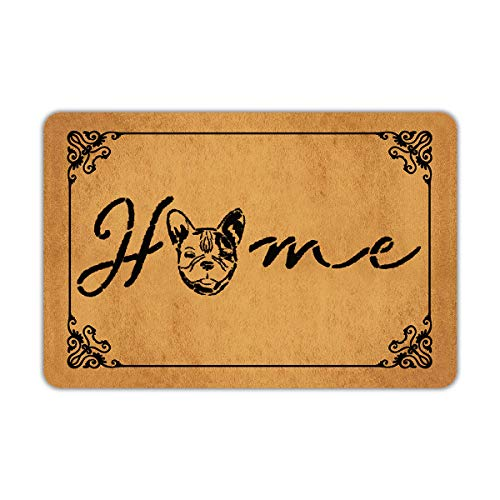 Home French Bulldog Frenchie Dog Entrance Non-Slip Outdoor/Indoor Rubber Door Mats
