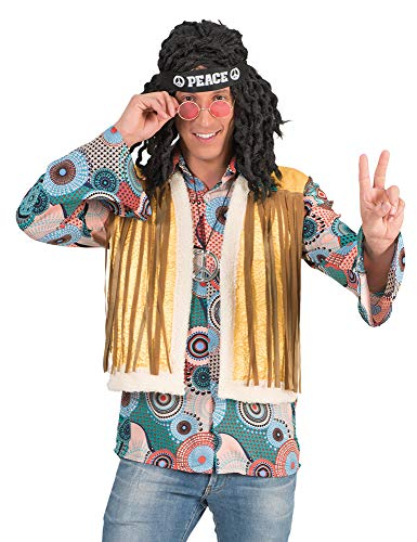 Retro hippie kostuum Brian met franjes voor heren - jaren '70 '80 hemd met vest carnaval themafeest