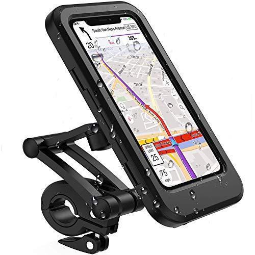 Soporte para teléfono móvil resistente al agua para bicicleta o motocicleta, soporte para pantalla táctil, universal para teléfonos móviles de menos de 6,7 pulgadas, rotación de 360 grados.