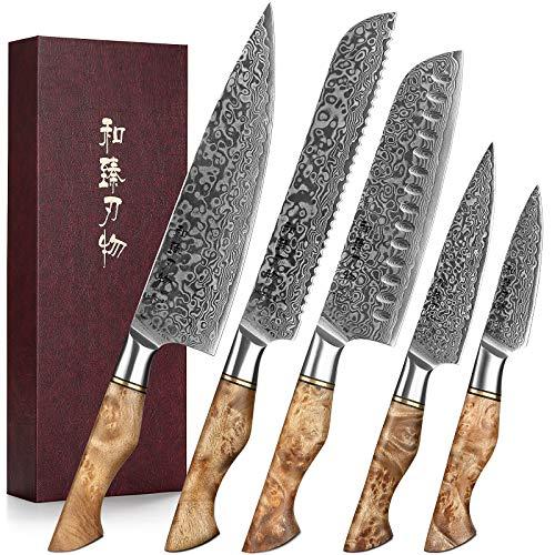 HEZHEN 5-Küchenmesser Set im japanischen Stil, vakuumwärmebehandeltes Damaskus-Stahl-Japanisches High-Carbon-Stahlkoch Santoku Brot Universalfruchtmesser,mit Geschenkbox-weißem Schattenholzgriff