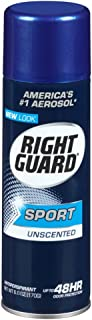 Right Guard Sport 6 Ounce Unscentd Can Aerosol (177ml) (6 Pack)