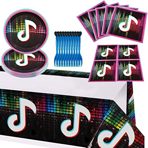 Tik-Tok Birthday Party Decorations Supplies, Icluded Table Cloth,Cake Dishes, Forks, Napkins Set for 16 Guest, Party Decoration for Boys And Grils, Music Themed Party Supplies