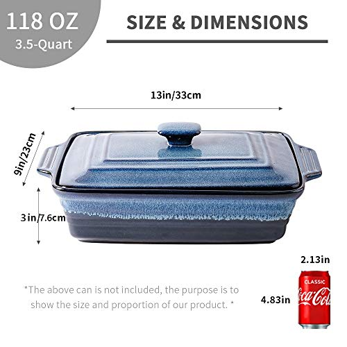 KOOV Ceramic Casserole Dish with Lid, Covered Rectangular Casserole Dish Set, Lasagna Pans with Lid for Cooking, Baking dish With Lid for Dinner, Kitchen, 9 x 13 Inches, Reactive Glaze (Nebula Blue)