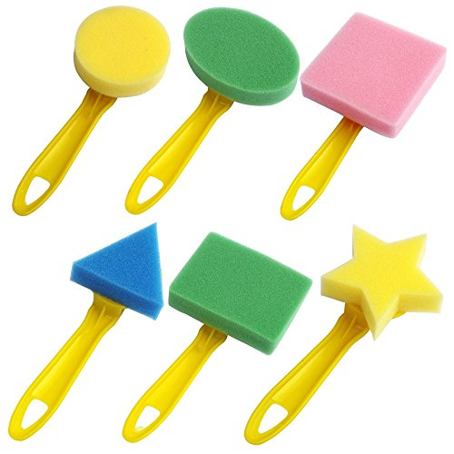 Kids Art & Craft 6 Pieces of Fun Painting Drawing Tools for Kids Early Learning Kids Painting Set Sponge Brush for Water Watercolor Oil Gouache Acrylic Paint Art Supplier Creativity 6 Shapes/Set