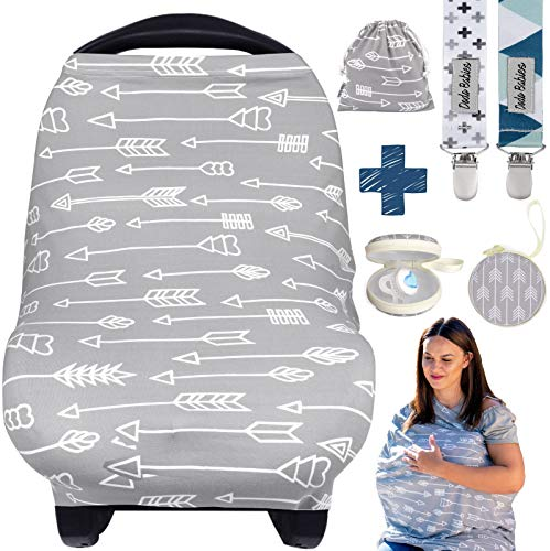 Dodo Babies Nursing Cover for Breastfeeding – Car seat Cover Nursing Scarf Breastfeeding Ups – Ultra-Soft and Breathable – Multipurpose Design – Includes Pacifier Clips, Case, Storage Bag
