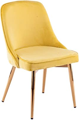 Velvet Lounge Chair, Sturdy and Durable, Easy to Stack, Save Space, Front Desk Chair, Home Dining Chair, Lounge Chair, Computer Conference Room, Office Chair, Soft and Comfortable (Color : Yellow)