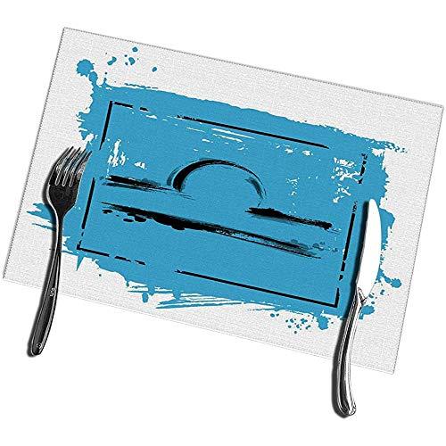 Keuken Tafelmatten Set van 6 Abstract van De Zodiac Teken Weegschaal Icon Astrologie Stain Resistant Tafelmatten 12X18IN