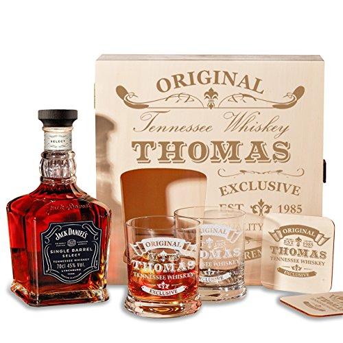 polar-effekt Holzkiste Personalisiert mit Gravur - mit Jack Daniel's Single Barrel Tennessee Whiskey, 6-TLG Whisky Geschenk-Set - Personalisiert zum Geburtstag Motiv - Original-Exklusive Titelbild