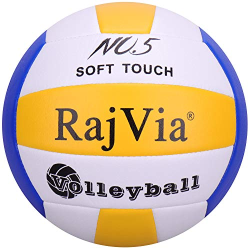 Palla da Gioco Soft Touch Pallone Volley Ufficiale Taglia 5 Indoor Outdoor Beach Gym Pelle Sintetica (Blue & Yellow)