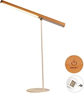 LED Table Lamp [Modern Wooden Dimmable 360°Adjustable] Table Light, USB Rechargeable Cordless Portable Table Lighting Battery Operated Lamps for Office College Students Dorm Study Home Bedroom Bedside