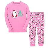 Tphon Girls Boys Christmas Outfit Pajamas Toddler Boy Kids Holiday Pajamas Set Santa PJS Winter Sleepwear(7Y, Pink)