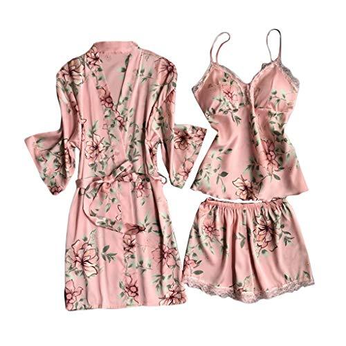 Pijamas de Encaje para Mujer Trajes de Estampado de Flores Kimono Ropa de Dormir Correa Pantalones Cortos de Camisola 3 Piezas Set Mujeres Sexy Satén Ropa de Dormir erótica