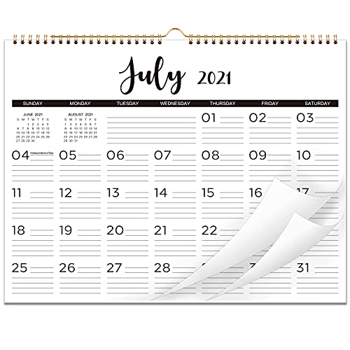 2021-2022 Calendar - 18 Monthly Wall Calendar with Thick Paper, 15' x 11.5', Twin-Wire Binding with Hanging Hole + Ruled Daily Space with Marked Holidays, July 2021 - December 2022 - Black and White