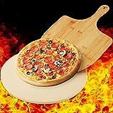 Qlf yuu Pizzastein mit Holz-Pizzaschaufel, 30 cm, runder Stein für Ofen und Grill, große Pizzasteine, ideal zum Backen von Pizza, Brot, Gebäck, Muffins (30 cm, rund)