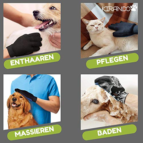 Kirando's Premium Fellpflege-Handschuh | besonders effiziente und schonende Tierhaar-Entfernung! | Reinigung, Pflege & Massage in einem Schritt für ihren Hund oder Katze! - 5