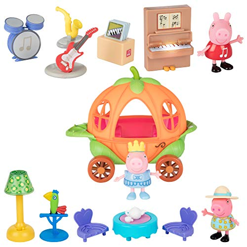 Peppa Pig Little Rooms Music Room, Tea Party & Little Vehicle Carriage Playsets, 14 Pieces - Includes Peppa Figures, Carriage, Furniture, Instruments & More! - Ages 3+