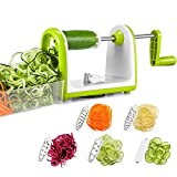 cucumber pasta maker - Bonsenkitchen Vegetable Spiralizer Slicer, 5 Blades Spiral Cutter Slicer for Veggie Spaghetti Pasta, Salad, Powerful Suction Pad for Low Carb/Paleo/Gluten-Free Meals (5 Blades Spiralizer Slicer)