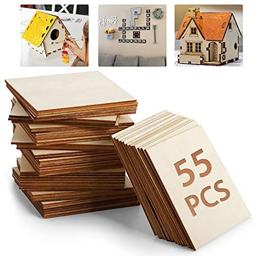 Tablero de madera sin terminar – 55 piezas de 4 x 4 pulgadas en blanco natural rebanadas cuadradas de madera para manualidades, pintura, azulejos, posavasos, pirografía, decoraciones