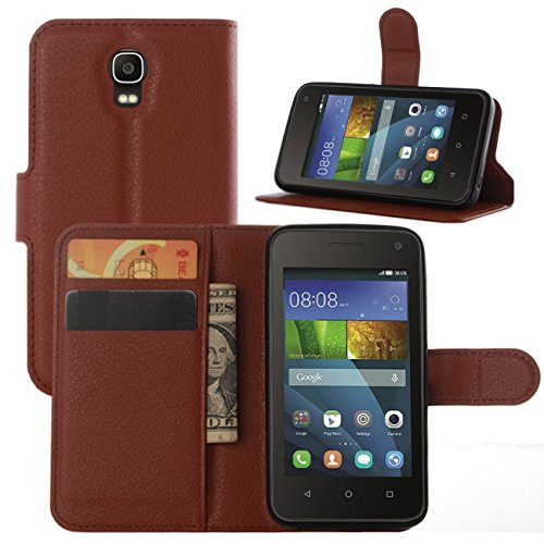 Huawei Ascend Y360 Y3 Y336 Cases, Premium PU Leather Wallet Protector Cases Flip Cover with Stand Card Holder for Huawei Ascend Y360 Y3 Y336 2015 Mobile Phone (Wallet - Brown)