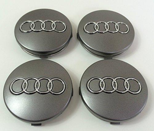 Set von vier Alufelgen Mitte Radkappen grau Bezüge Badge 60mm 4B0601170passend für Audi A3A4A5A6A7A8S4S5S6S8RS4Q3Q5Q7TT A4L A6L S Line Quattro und andere Modelle 4b0601170