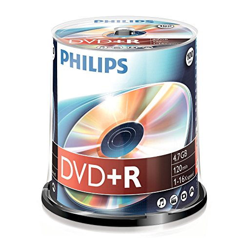 Philips DVD+R Rohlinge (4.7 GB Data/ 120 Minuten Video, 16x High Speed Aufnahme, 100er Spindel)