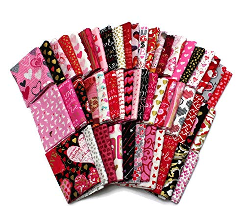 10 Fat Quarters - Valentine's Day Hearts Love Sweetheart Pink Red Sparkle Roses Floral Valentine Quality Quilters Cotton Assorted Fat Quarter Bundle M229.04