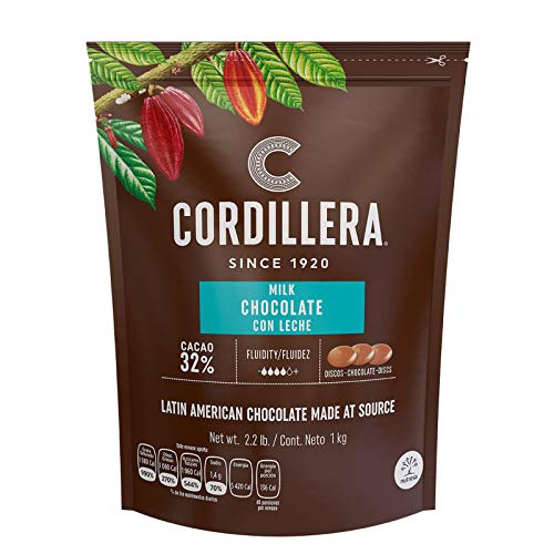 Cordillera | Milk Chocolate Couverture | Cacao 32% | 2.2 Lb, Pack of 1 | Latin America Chocolate | Real & Sustainable Chocolate | High Fludity