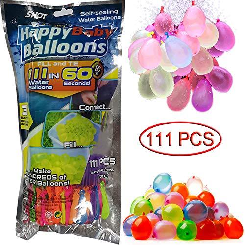 Lim 111PCS Water Balloons Wasserbomben in 60Sekunden - selbstschließend ohne Knoten Wasserballons Kurzzeitig Füllen Kit