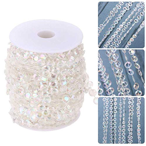 Romote 10M/Roll Transparent Bead String Crystal Acrylic Gems Bead Fish Line Bead Chain DIY Jewelry Festival Venue Layout Wedding Chain Garland Tree Garland Christmas Party