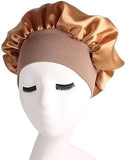 Satin Bonnet Night Sleep Cap, Hamkaw Sleeping Head Cover with Soft Elastic Band for Makeup, Alopecia, Chemotherapy