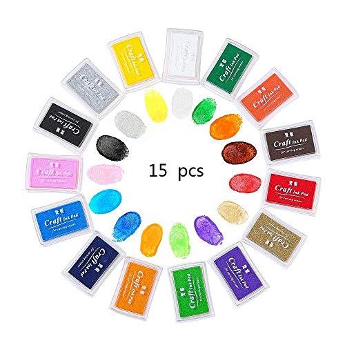 Laojbaba Colourful Craft Ink Pad Stamps Partner DIY Color,15 Colors Rainbow Finger Ink pad for Kids