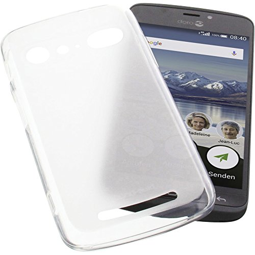 Tasche für Doro 8040 Gummi TPU Schutz Handytasche transparent weiß