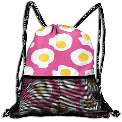 DPASIi Bolsa de cordón con diseño de huevos fritos, varios colores, bolsa de deporte, bolsa de deporte, bolsa de yoga, bolsa de poliéster, bolsa de zapatos, cierre de cuerda ajustable