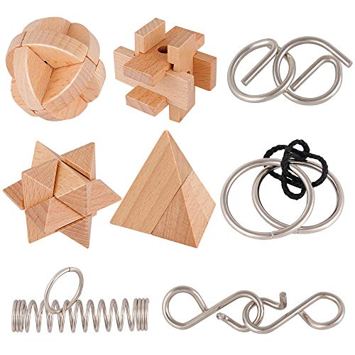 Coogam Wooden and Metal Puzzles Brain Teasers Set of 8, Mind Game Wire Unlock Interlock IQ Hand Puzzle Toys Party Favor Gifts for Kids Adults All Ages Challenge